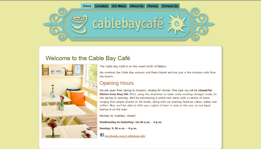 web design cable bay cafe